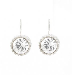 Clear White  Crystal  Round Drop Earrings